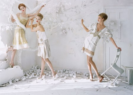 Lily Cole, Gemma Ward & Caroline Trentini A white Carousel Vogue, February 2006 © Tim Walker