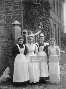 Maids at Church House, Charwelton, Northamptonshire, 1903.