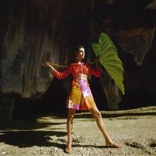 Model in Syracuse, Sicily wearing a shirtdress by Hanae Mori