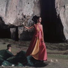 Model in Syracuse, Sicily wearing an evening dress by Trigere Dec 1967