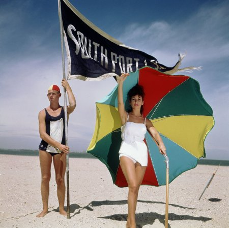 Model showing beachwear at Melbourne beach, Australia in the sixties. (c) Sem Presser