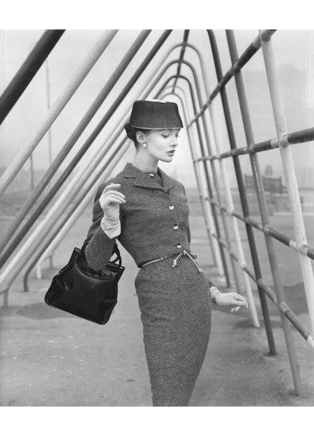 Model Standing by Metal Frame Uk Vogue 1956 © Norman Parkinson
