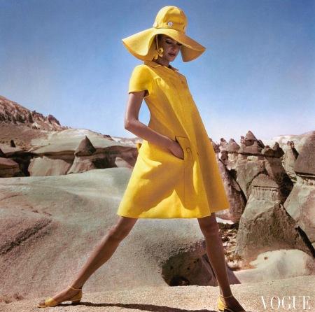 Model wearing a yellow smock by Hannah Troy in Goreme, Turkey Dec 1966 copia