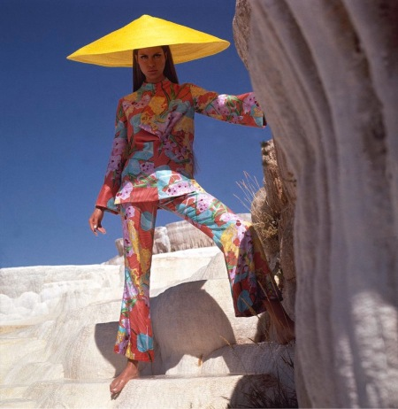 Model wearing floral pants and top by Bill Blass in Turkey Dec 1966