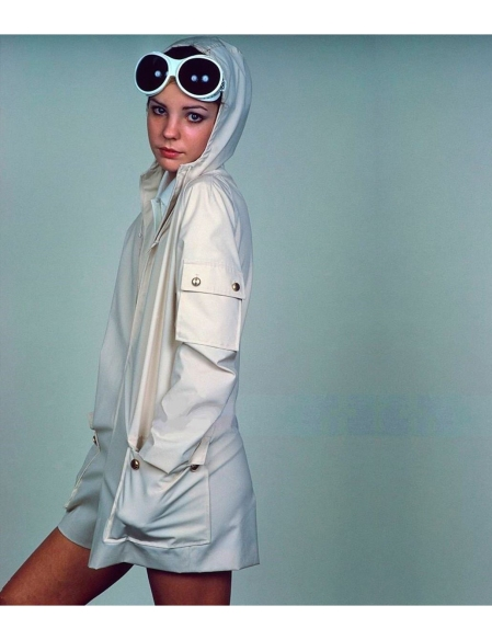 Model wearing Fortrel and cotton sailing suit by White Stag and Vision Unlimited sunglasses Glamour 1968