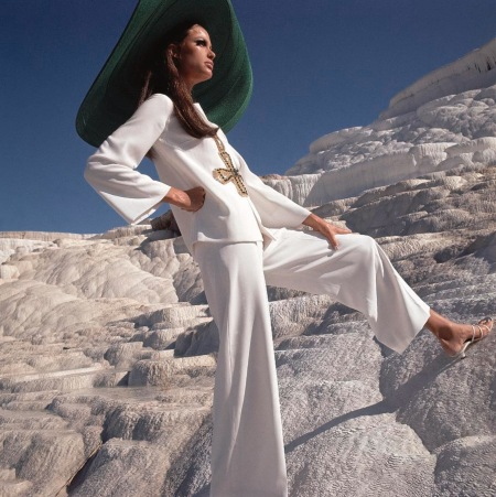 Model - wearing white crepe pants and shirt by Ellen Brooke for Sportswear Couture Dec 1966