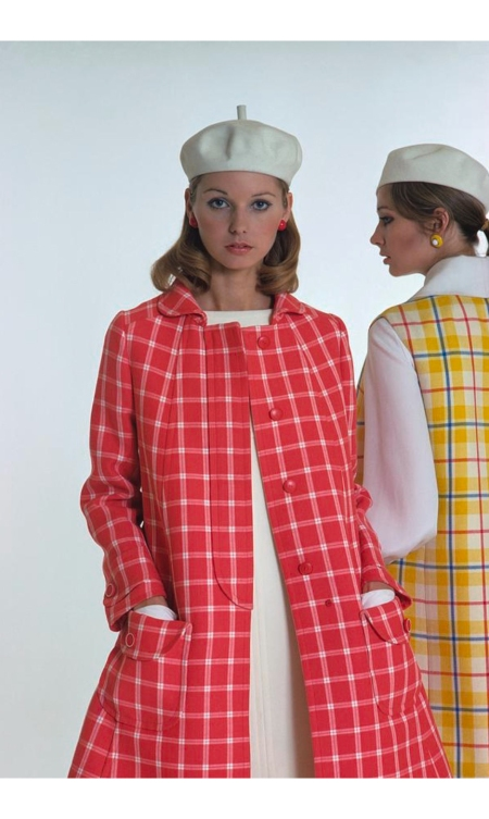 Models Wearing Checked Ungaro Parallele Coats Glam march 1968 © William Connors
