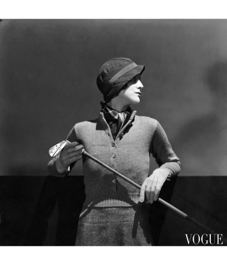 More chic golf attire, this from 1932 Daphne de Levis Prizer wears a button-up pullover, with a sporty half-placket, to keep warm on the links © Huene
