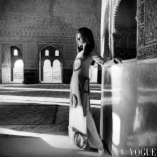 Moyra Swann in the El Mirador de Lindaraja in the Alhambra, Spain wearing a long tunic oct 1968