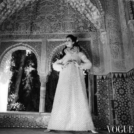 Moyra Swann in the El Mirador de Lindaraja inside the Alhambra, Spain wearing a caftan gown oct 1968