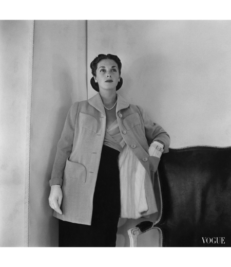 Mrs. Edward Patterson Modeling Evening Coat and Chiffon Dress by Mainbocher horst-p-horst-mrs-edward-patterson-modeling-evening-coat-and-chiffon-dress-by-mainbocher