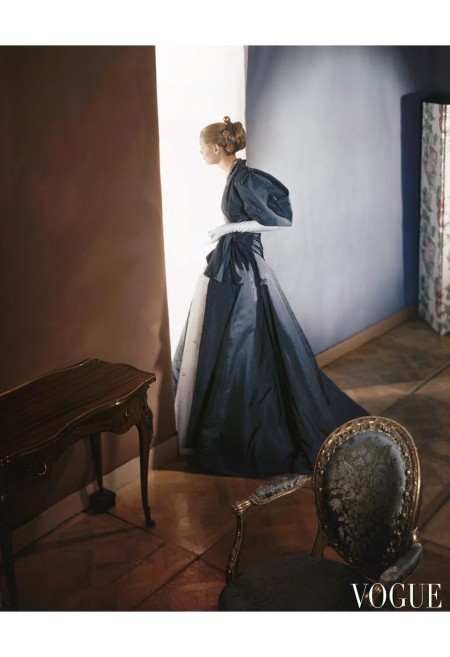 Natalie Paine in slate gray taffeta evening coat over a white tulle sequined gown by Antonio Castillo for Elizabeth Arden Vogue 1946 © Horst P.Horst