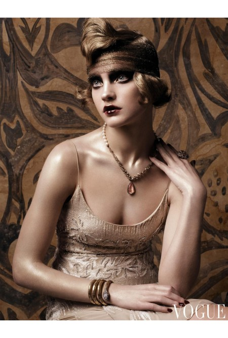 Nineteen-twenties society free spirit Nancy Cunard was one of the flamboyant women who adored Poiret's designs. Armani Privé spaghetti strap flapper dress with crystal embroidery, and n