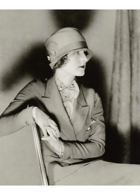 Norma Shearer wearing a suit and cloche hat oct 1926 Vanity Fair © Charles Sheeler