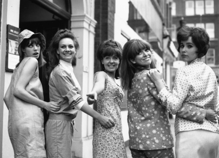 'Passion Flower Hotel' in Soho, London are left to right - Jane Birkin, Francesca Annis, Pauline Collins, Jean Muir and Karin Fernald. 1965 © Evening Standard:Getty Images