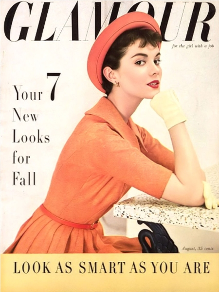 Patsy Shalley in orange tweed dress by Carolyn Schnurer, orange rolled brimmed Breton by Betmar, narrow snakeskin belt by Midtown, and chamois gloves by Kay Fuchs, cover by Frances McLau
