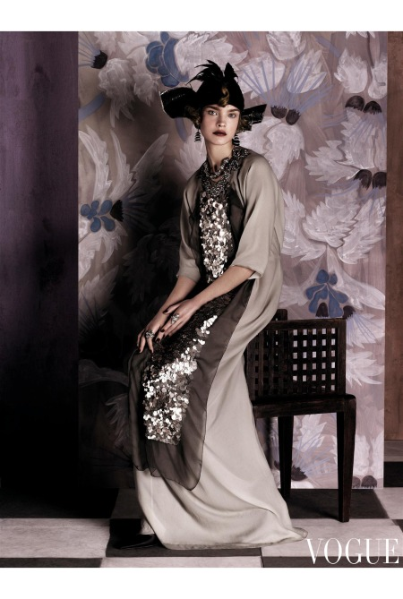 Poiret's robes sacs, allowed ladies to leave behind the binds of corset dressing and overwrought opulence. Vera Wang jeweled-and-sequined silver chemise. Fred Leighton earrings. Hari Gem