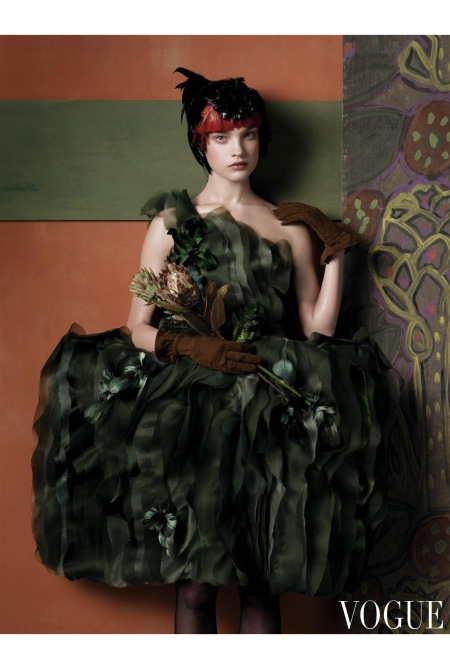Rodarte moss organza dress with feather flowers and gloves.