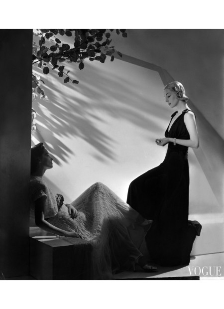 Two models wearing summer fashions horst-p-horst-vogue-july-1937