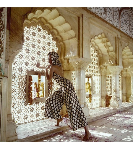 Veruschka in the Jas Mandir at Amber, India wearing evening halter pyjamas with gold polka dots by Trigere dec 1964