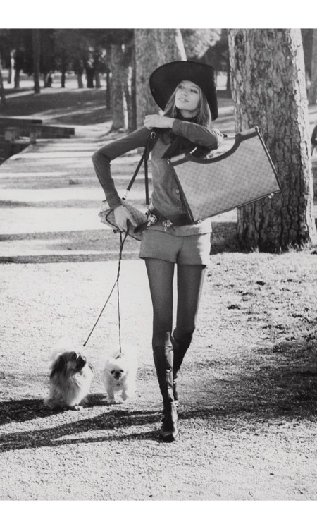 Veruschka Walking Dogs in the Borghese Gardens 1971