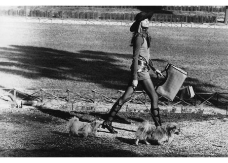 Veruschka walking dogs in the Borghese Gardens, Rome april 1961