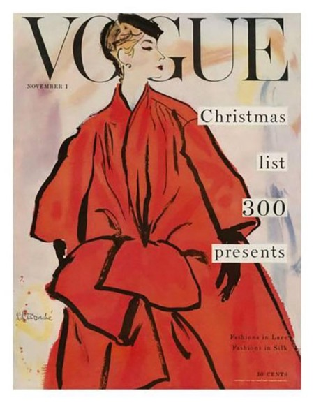 Vogue Magazine November 1953 Cover Featuring A Woman In A Large by Rene R. Bouche