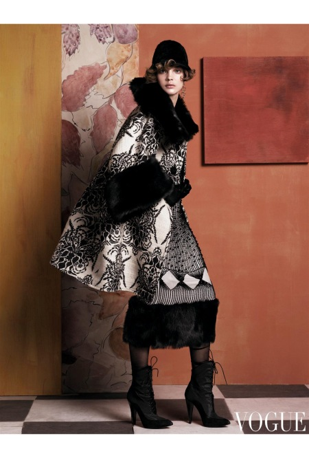 Wiener Werkstätte, Poiret employed graphic motifs and simple shapes. Proenza Schouler black-and-white jacquard coat with fur trim, wool pencil skirt with fur hem, fur hat, gloves, and p