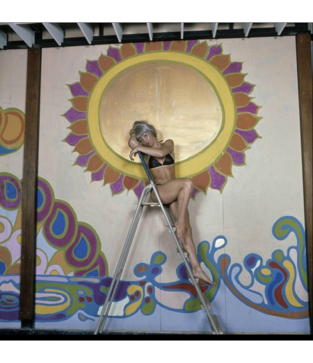 woman in bikini for decor in the sixties