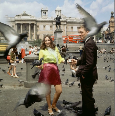 Young people in the square between the pigeons