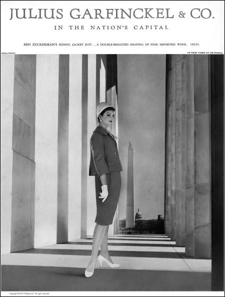 Betsy Pickering in imported pink wool riding jacket suit by Ben Zuckerman, photo by Gleb Derujinsky, Harper's Bazaar, February 1959