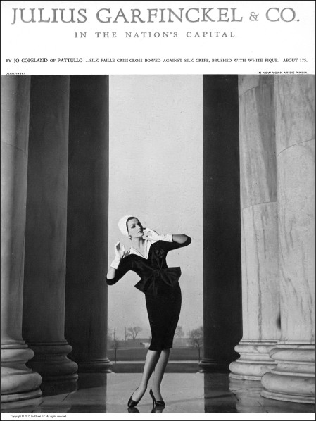 Betsy Pickering in silk faille dress, criss-crossed bowed with white piqué accent by Jo Copeland, photo by Gleb Derujinsky, Harper's Bazaar, February 1959