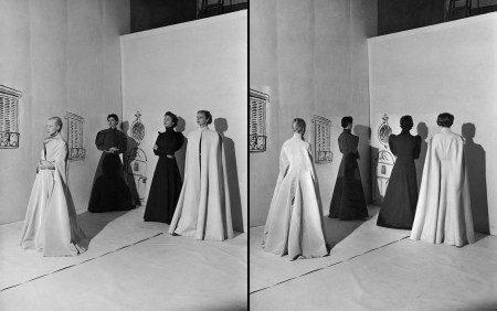Charles James Coat sculptural evening wraps, backdrop sketched by Christian Bérard Vogue November 1936 © Cecil Beaton