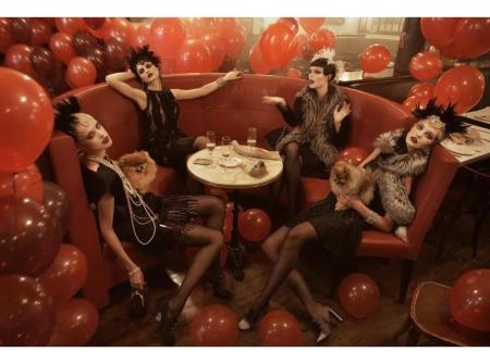 "Coco Rocha Sasha Pivovarova Agyness Deyn Carolin Trentini ""Paris, je t_aime"" Vogue US September 2007 © Steven Meisel l"