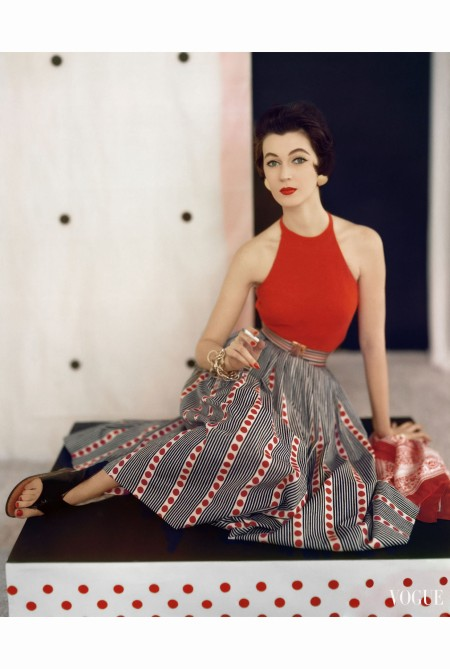 Dovima Wearing Red Halter Sweater of Knit Cotton by Nelly De Grab june 1953
