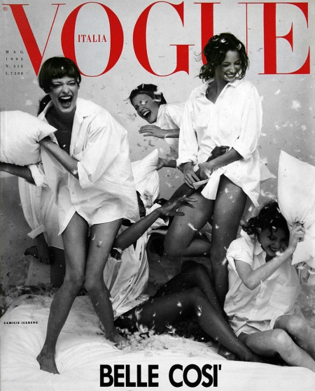 """Vogue Italia supplement Linda Evangelista, Naomi Campbell, Amber Valletta, Christy Turlington & Shalom Harlow Vogue It May 1993 © Steven Meisel b"