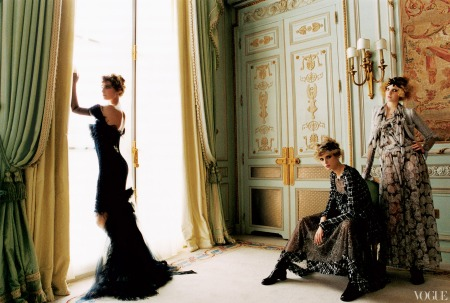 Eugenia Volodina in a Chanel Haute Couture navy tulle dress with feathers Julia Stegner in a Chanel tweed jacket and embroidered lace dress with tweed detail, and Caroline Trentini in a