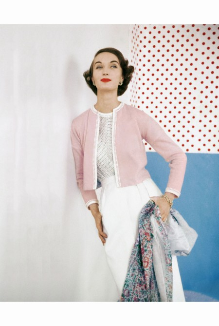 Evelyn Tripp Model Wearing Pink Sweater over Confetti-Print Cotton Blouse by Evelyn Gates June 1953