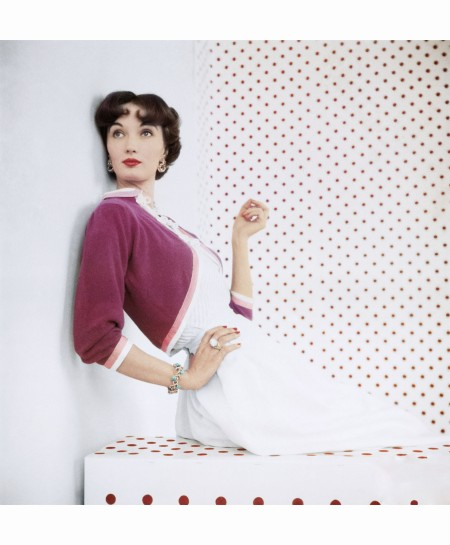 Evelyn Wearing Magenta-Colored Bolero Sweater by Evelyn Gates June 1953 b