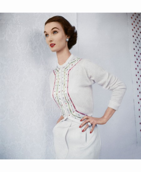 Evelyn Wearing White Ribboned Cashmere Sweater by Evelyn Gates June 1953