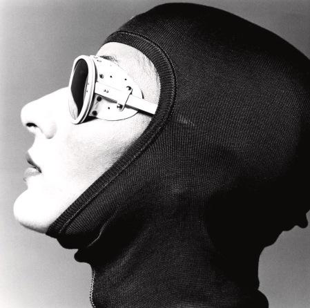 Female model wearing a ski hood and sport glasses GQ 1974 © Albert Watson bn