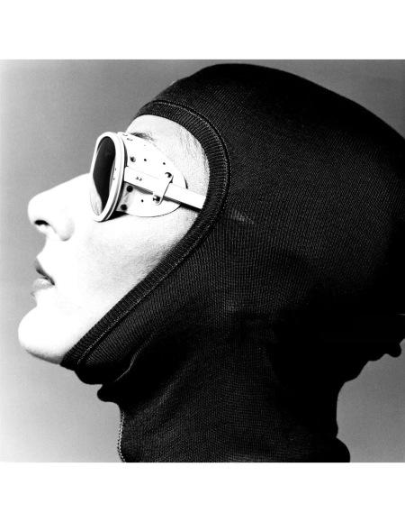 Female model wearing a ski hood and sport glasses GQ 1974 © Albert Watson