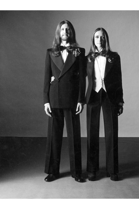 Giuseppe Russo and Danielle Dugas Tuxedos Vogue 1972 © Oliviero Toscani