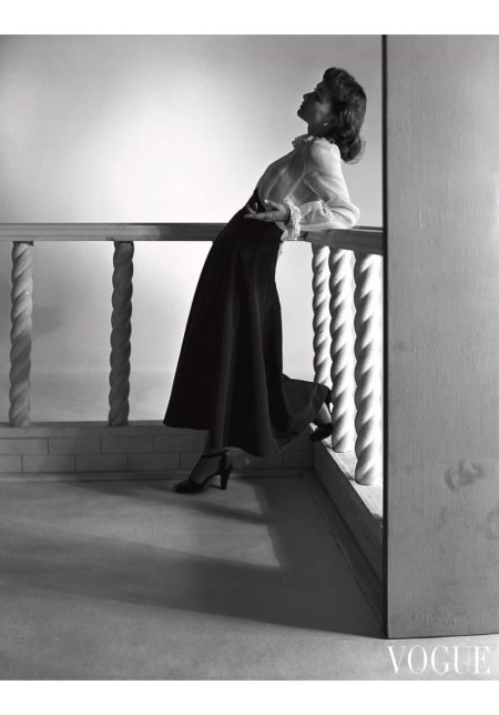 Katherine Bard wearing a blouse and long skirt by Julia Marshall July 1947
