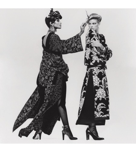 Lisa Taylor wearing a chrysanthemum print crepe de chine robe and Beverly Johnson wearing a floral crepe de chine gown Vogue Oct 1977 © Albert Watson