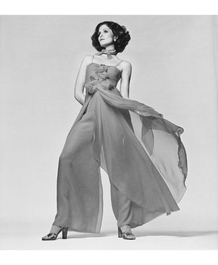 Lois Chiles wearing a silk chiffon pajama by Stravopoulos march 1974