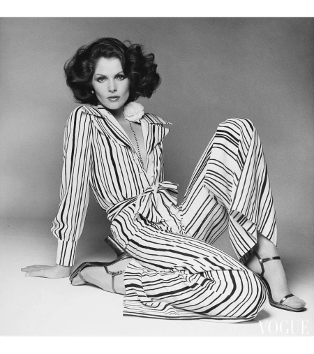 Lois Chile's wearing a striped pajama and blouse by Jean-Louis Scherrer Vogue March 1974 © Francesco Scavullo