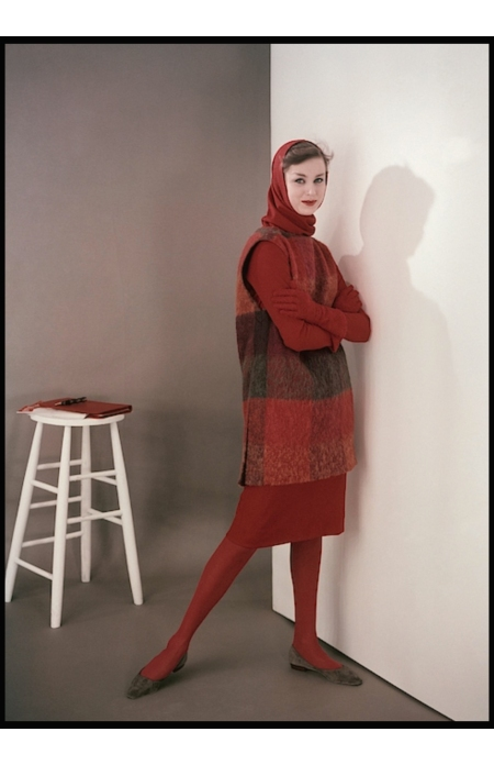 Model in a tunic and wool dress with shoes by Capezio and gloves by Meyers Make glam aug 1958