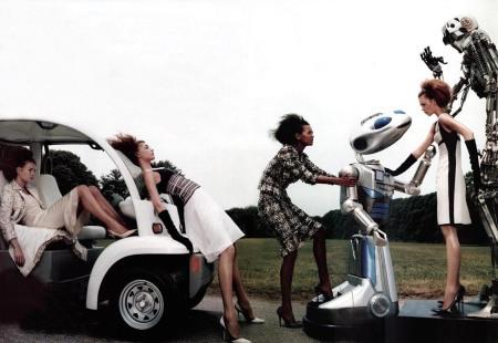 Natalia Vodianova, Eugenia Volodina, Elise Crombez, Liya Kebede The Total Lady Vogue US September 2003 © Steven Klein intro 2