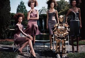 Natalia Vodianova, Eugenia Volodina, Elise Crombez, Liya Kebede The Total Lady Vogue US September 2003 © Steven Klein3